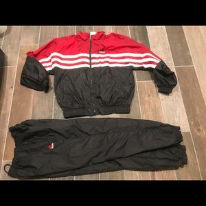 Adidas red& black track suit vintage 90's Sz large